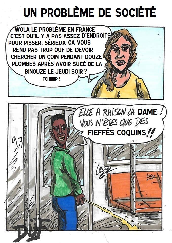 Duf dessinateur racisme urine