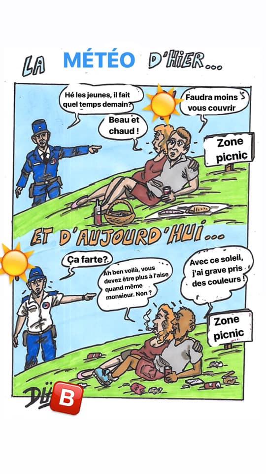 Duf dessinateur police migrant jardin
